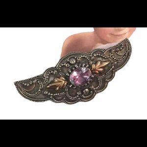 Antique amethyst angel wing sterling brooch